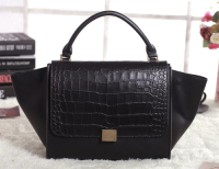 2013 Celine trapeze tote leather bag crocodile 3342 black