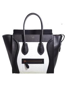 2013 Celine 3308 white snakeskin&black original leather