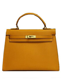 2014 hermes kelly 28cm epsom leather bag yellow H099