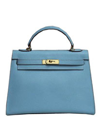 2014 hermes kelly 28cm epsom leather bag light blue H099