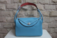 2014 Hermes togo leather lindy bag Lindy30CM light blue&pink