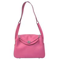 2014 Hermes togo leather lindy bag Lindy30CM rose red