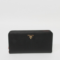 Prada calf Leather Wallet 1M1265 black&pink