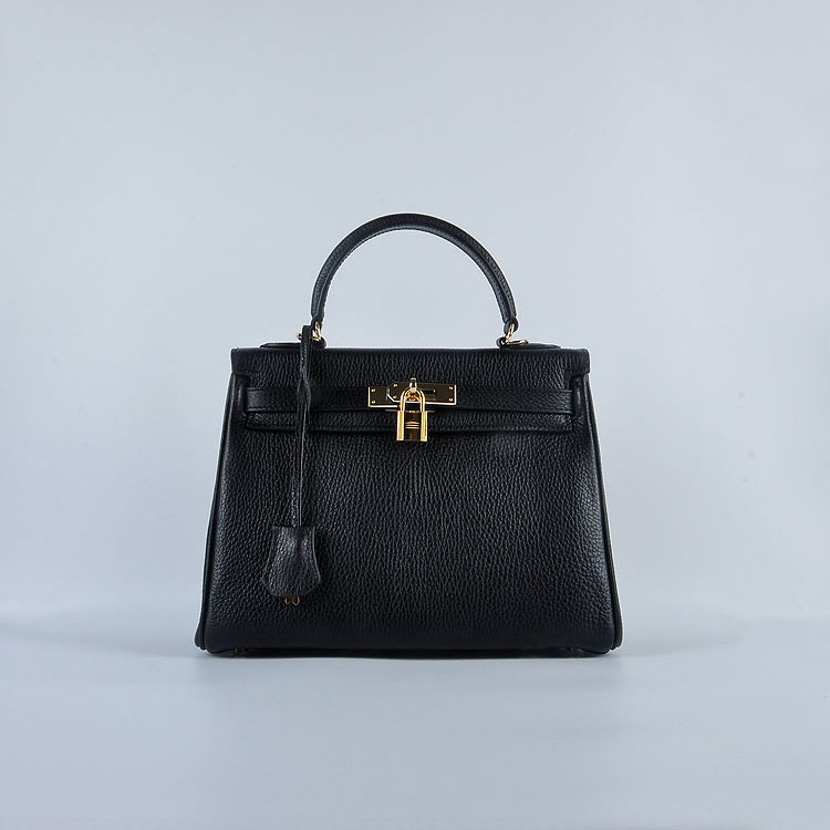 Hermes Kelly 28cm togo Leather 6608 Black Gold Buckle