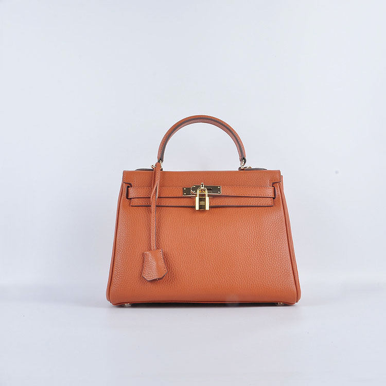 Hermes Kelly 28cm togo Leather 6608 Orange Gold Buckle