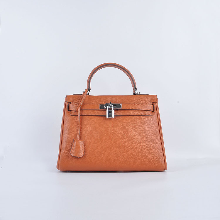 Hermes Kelly 28cm togo Leather 6608 Orange Silver Buckle