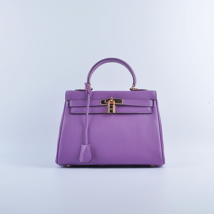Hermes Kelly 28cm togo Leather 6608 Purple Gold Buckle