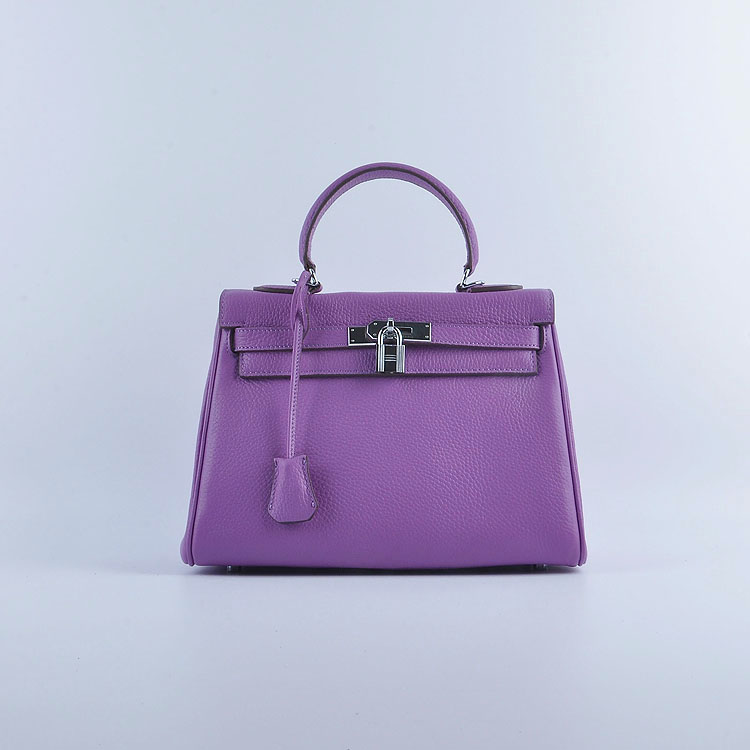 Hermes Kelly 28cm togo Leather 6608 Purple Silver Buckle