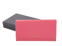 Prada calf Leather Wallet 1M1311 rose red
