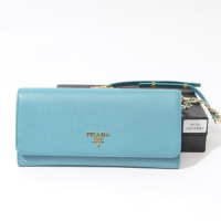 Prada calf Leather Wallet 1M1290 light blue