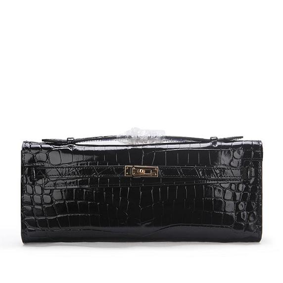 2015 hermes kelly longue clutch original leather 1002 black