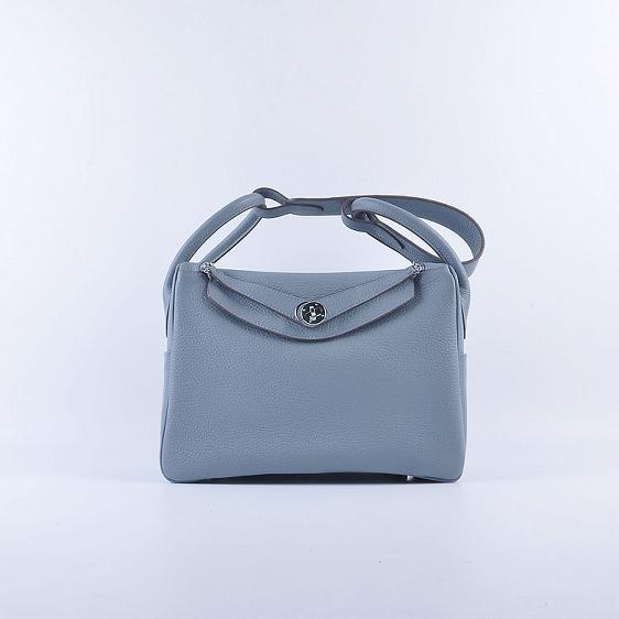 Hermes Lindy 30CM Leather Shoulder Bag 6207 Gray-blue