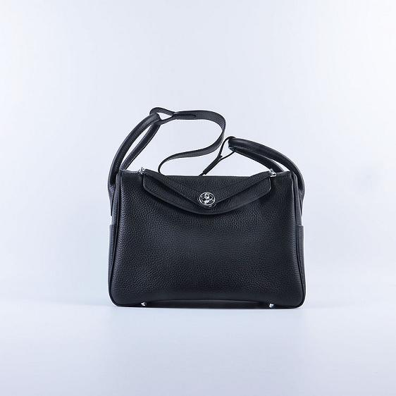 Hermes Lindy 30CM Leather Shoulder Bag 6207 black
