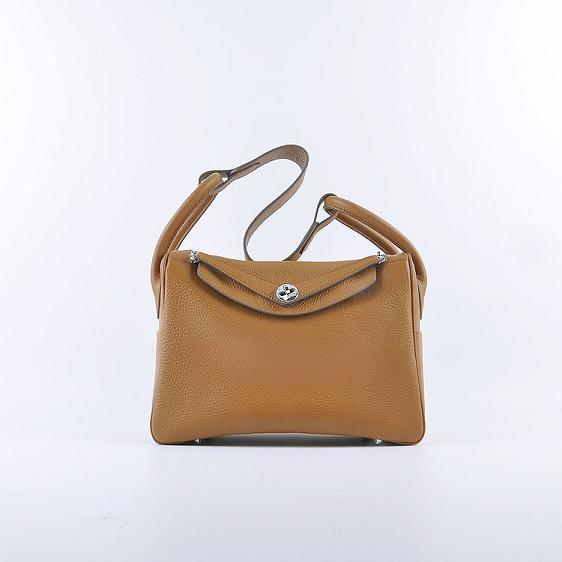 Hermes Lindy 30CM Leather Shoulder Bag 6207 light brown