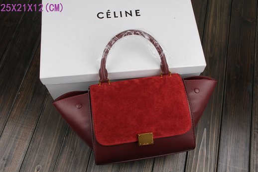 2015 Celine classic nubuck leather with original leather 3345 purplish red