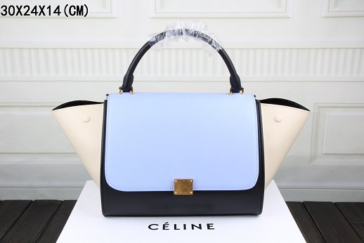 Celine Trapeze Bag Original Leather 3342 sky blue&black&off white