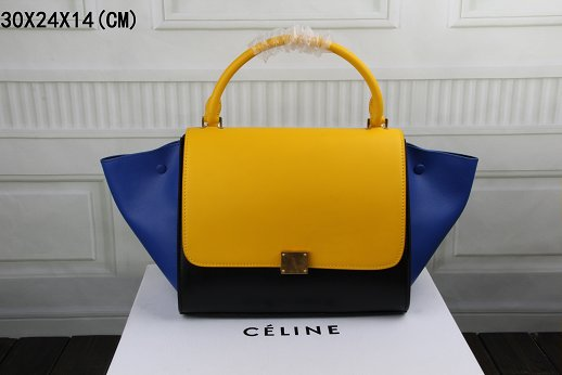 Celine Trapeze Bag Original Leather 3342 golden yellow&black&brilliant blue