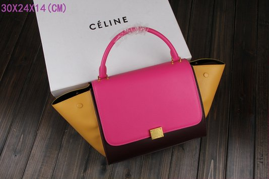 Celine Trapeze Bag Original Leather 3342-2 rose&purplish red&apricot
