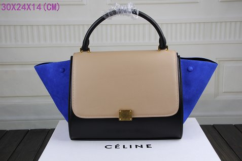 Celine Trapeze Bag Original Leather3342-1 apricot&black&brilliant blue
