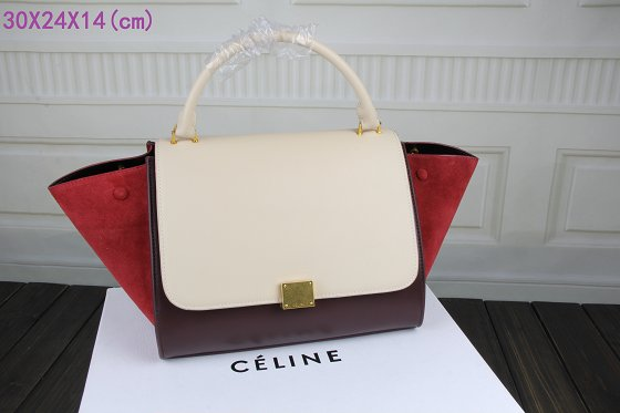 Celine Trapeze Bag Original Leather 3342-1 off white&purplish red&red