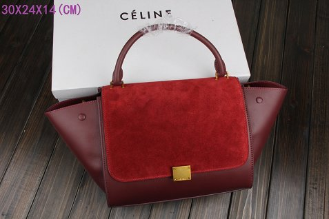 Celine Trapeze Bag Original Leather 3342-1 purplish red
