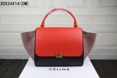 2015 Celine flap bags nubuck leather with original leather 3342-1 red&black&khaki