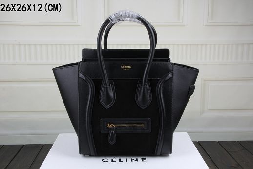 2015 Celine top quality nubuck leather with plain weave 3308-1 black