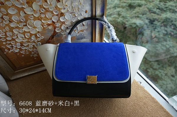 2015 Celine top quality plain weave with nubuck leather 6608 blue&black&off white