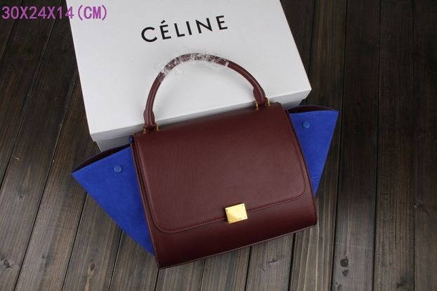 Celine Trapeze Bag Original Leather 3342 burgundy&royal blue