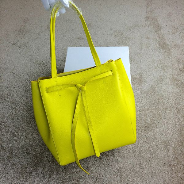 2015 Celine new model litchi grain shopping bag 2208 yellow