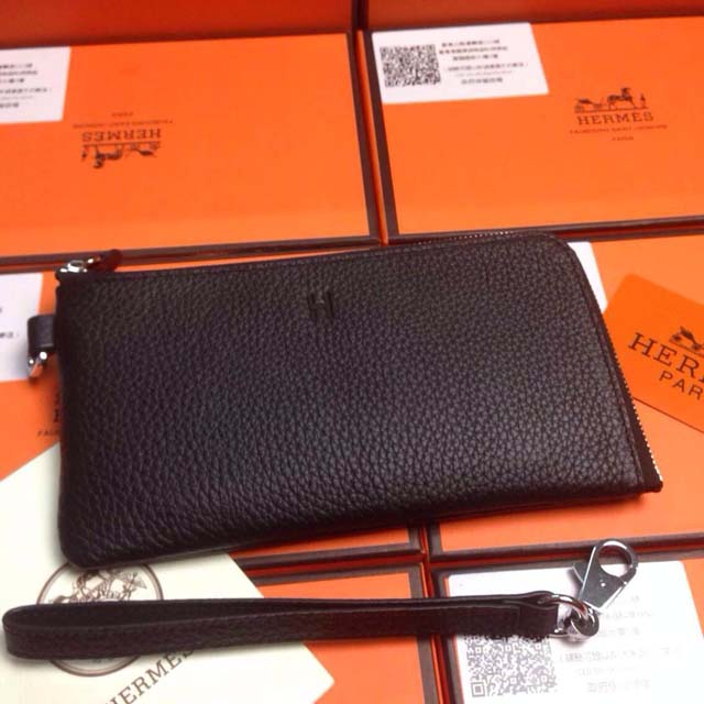 2015 Hermes 7-shaped zipper wallet 509 black