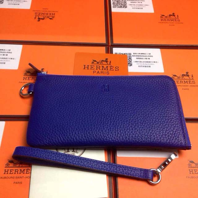2015 Hermes 7-shaped zipper wallet 509 brilliant blue