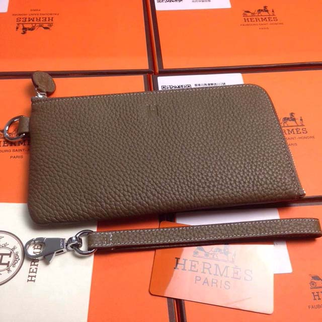 2015 Hermes 7-shaped zipper wallet 509 dark gray