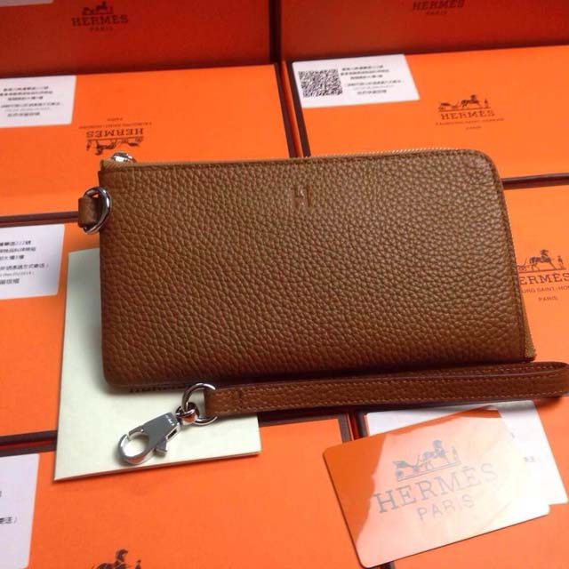 2015 Hermes 7-shaped zipper wallet 509 naturals