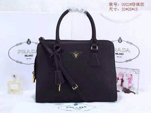 2015 Prada pearl leather tote bag 0922 black