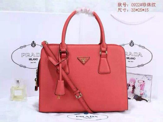 2015 Prada pearl leather tote bag 0922 red