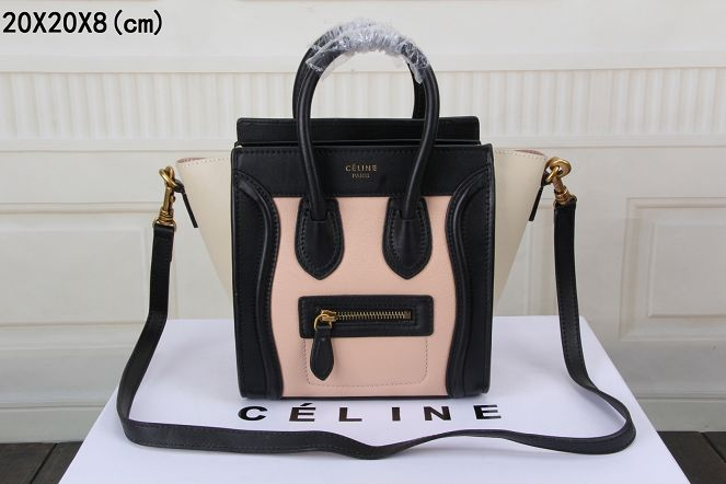 2015 Celine nano bag original leather 3308 light pink black rice white 43fc04523e847