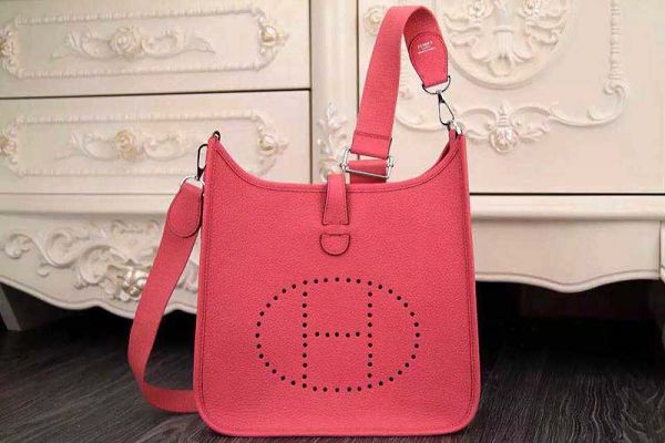 Hermes evelyne hot style original leather H1188 dark pink
