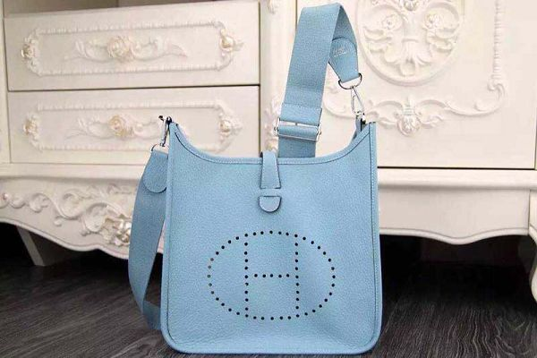 Hermes evelyne hot style original leather H1188 light blue