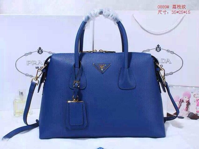 Prada litchi leather two-handle bag 0889 blue