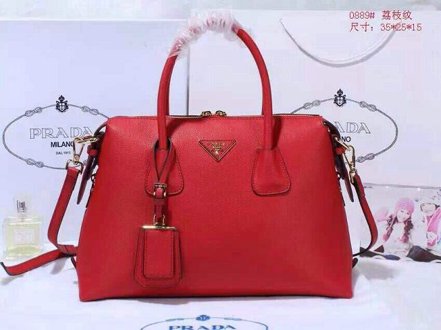 Prada litchi leather two-handle bag 0889 red