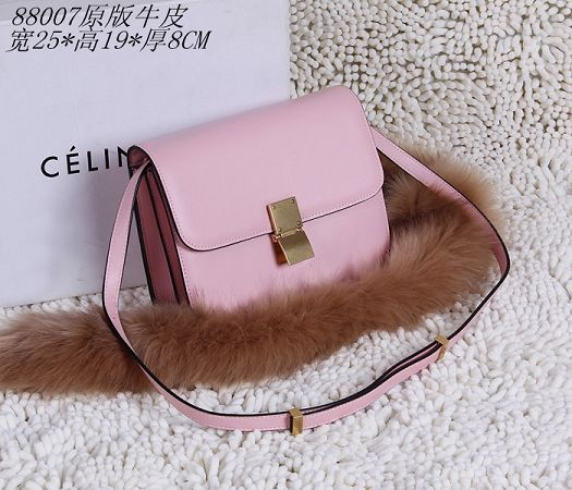 Celine Classic Box Small Flap Bag Calfskin 88007 Pink