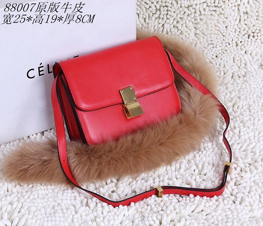 Celine Classic Box Small Flap Bag Calfskin 88007 Red