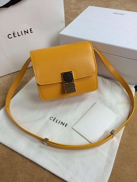 Celine Classic Box mini Flap Bag Smooth Leather 11041 Yellow