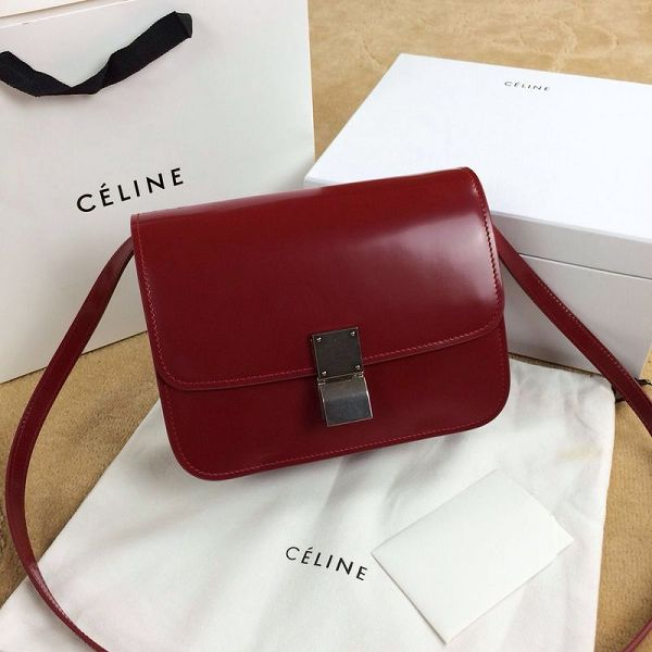Celine Classic Box Small Flap Bag Smooth Leather 11042 Dark Red