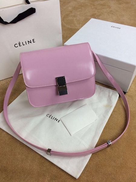 Celine Classic Box Small Flap Bag Smooth Leather 11042 Pink