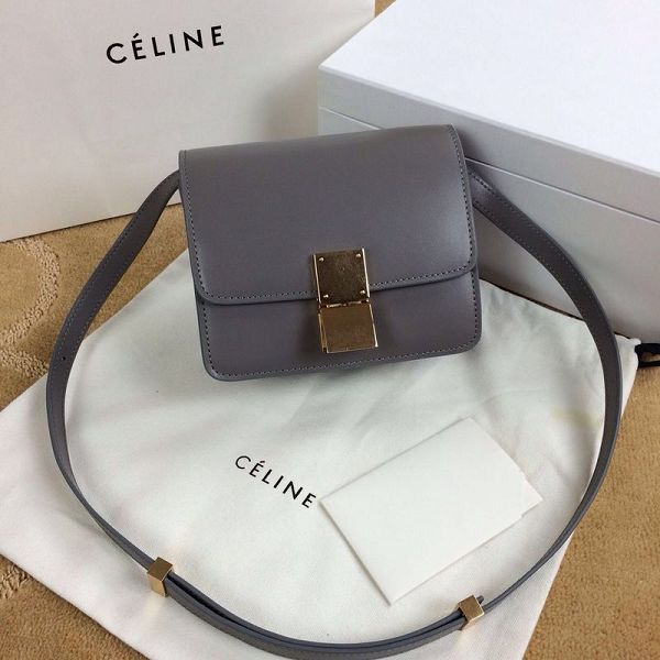 Celine Classic Box mini Flap Bag Smooth Leather 11041 Gray