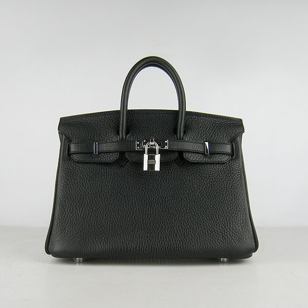 Hermes birkin 25cm calfskin leather H25 black in silver