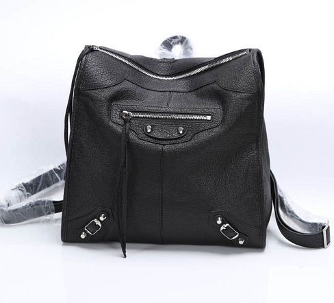 Balenciaga Backpack Black Litchi Leather 68335 Silver
