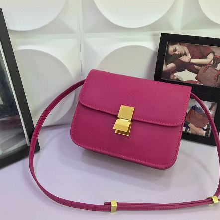 Celine Classic Box Flap Bag Calfskin Leather 88008 Rose